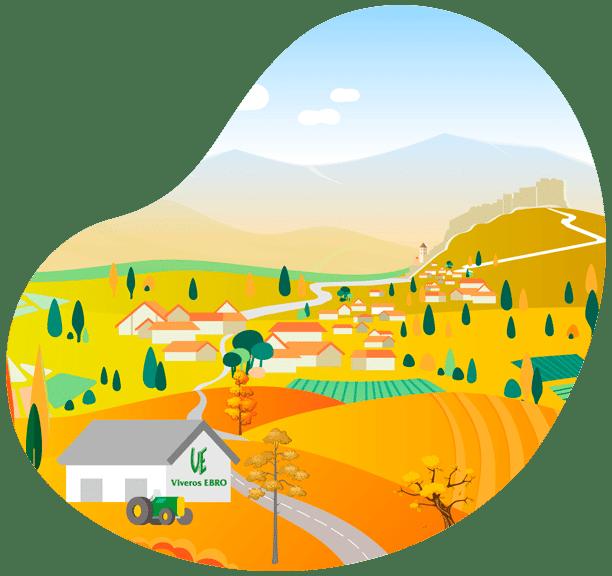 Ilustración Viveros Ebro Verano Miravet